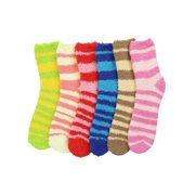 Striped Assorted Multicolor 6 Pack Fuzzy Socks