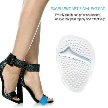 2 Pairs Soft Gel Ball of Foot Cushions, Metatarsal Gel Pads Ball of Foot Cushions, Self-Sticking Forefoot Shoe Insoles for Women High Heels, Relieve Foot