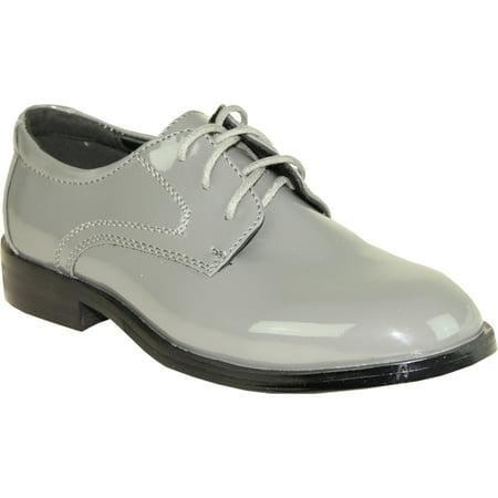 (VANGELO Toddler Boy Tuxedo Shoes TAB Dress Shoe Oxford Style Wrinke Free Gray Patent 10M US Toddler)