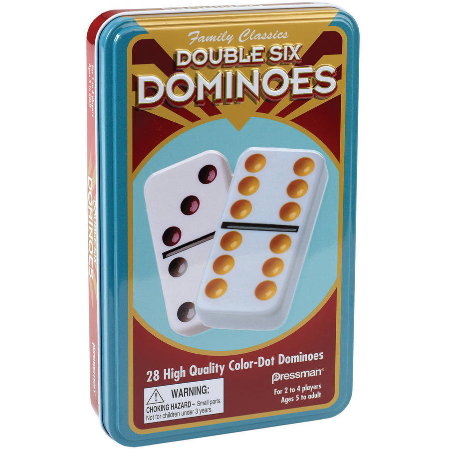 Double Six Color Dot Domino Set in Tin