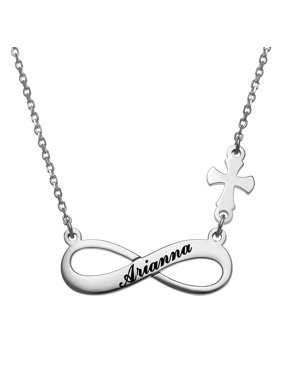Personalized Women's Sterling Silver or Gold over Sterling Engraved Name Infinity with Cross Necklace