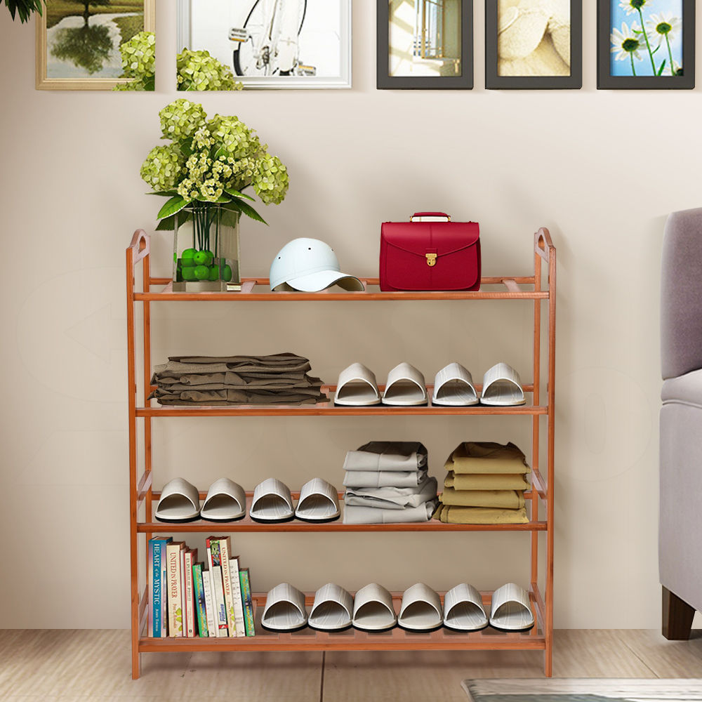 4 TIER WOODEN SHOE RACK/SHELF SLATTED BEDROOM SHOES ORGANISER STAND