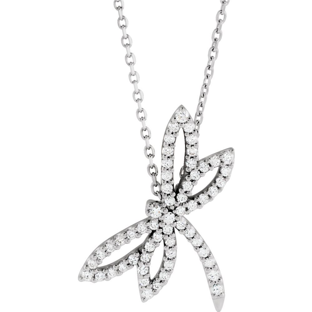 14k White Gold 1 3 Ct Diamond Dragonfly Necklace by