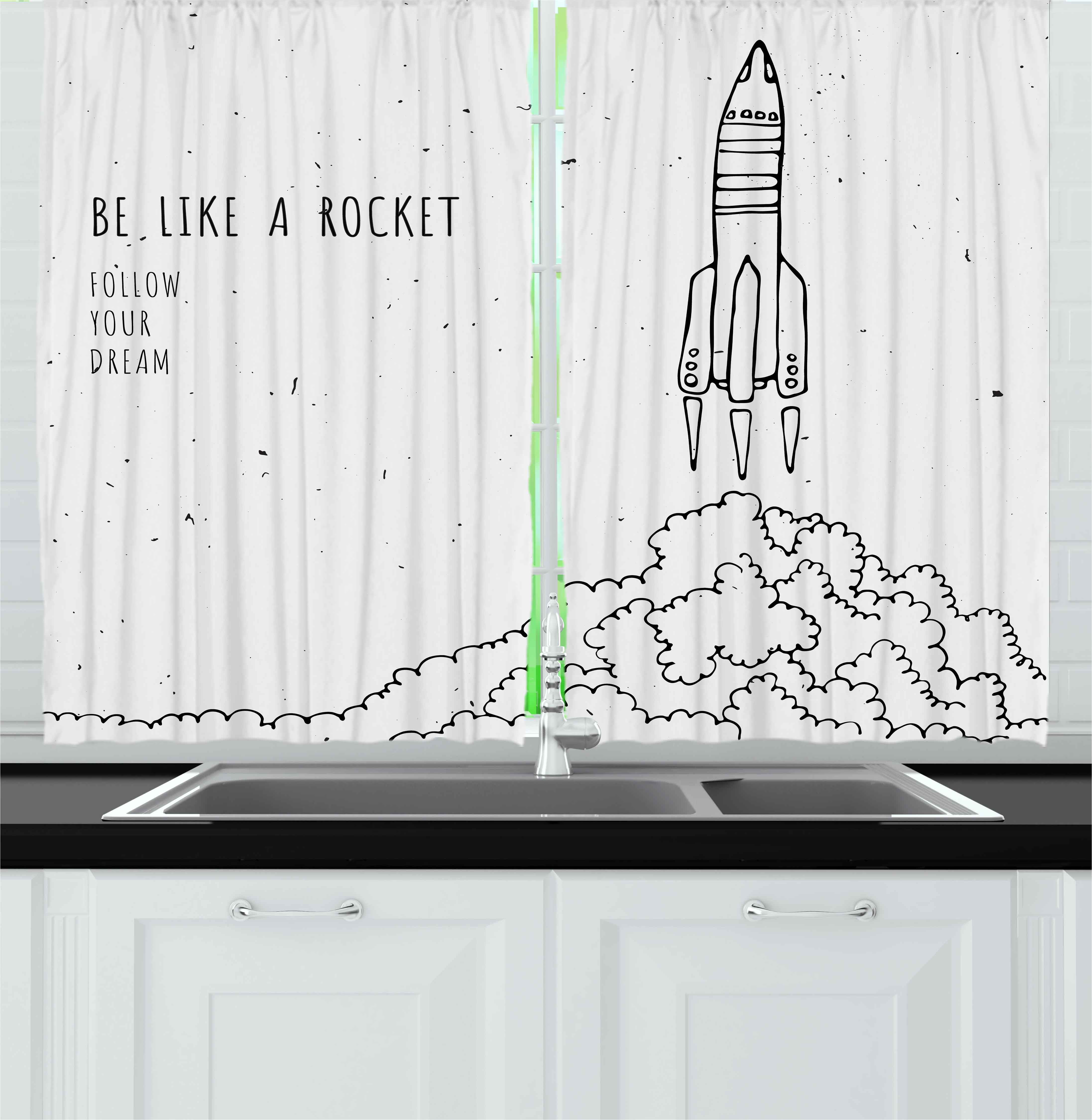 Kids Curtains 2 Panels Set, Quote for Dream and Space Lovers Be Like Rocket Follow Your Dreams Inspiring Art, Window Drapes for Living Room Bedroom, 55W X 39L Inches, Black and White, by Ambesonne
