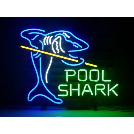 Desung Brand New Pool Shark Billiards Neon Sign Lamp Glass Beer Bar Pub Man Cave Sports Store Shop Wall Decor Neon Light 20 X 16 Wm56