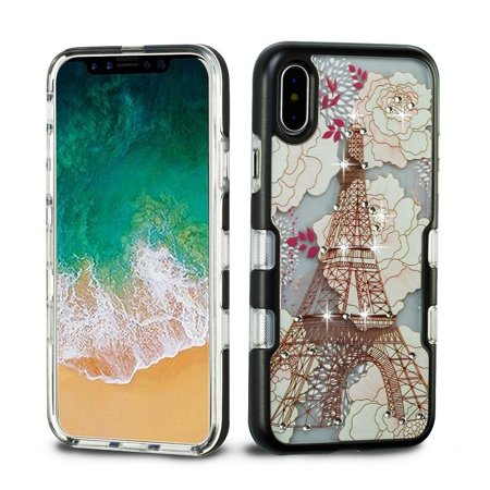 iPhone X Case, iPhone 10 Case, by Insten Tuff Eiffel Tower Dual Layer [Shock Absorbing] Hybrid TPU Gel Case Cover For Apple iPhone X 2017, Multi-Color - image 3 of 3