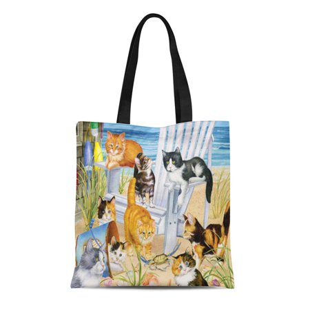 HATIART Canvas Tote Bag Cat Beach Bum Kittens Feline Coastal Seaside Ocean Reusable Handbag Shoulder Grocery Shopping Bags - image 1 de 1