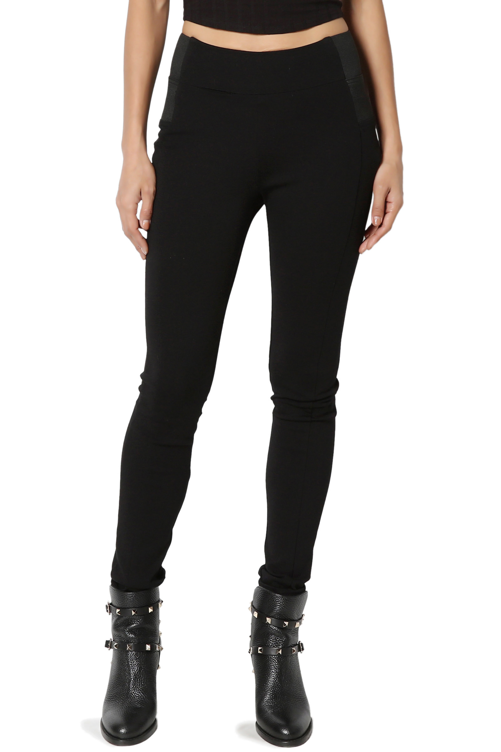 TheMogan PLUS Everyday Basic Ponte Knit Elastic High Waisted Ankle Skinny Pants