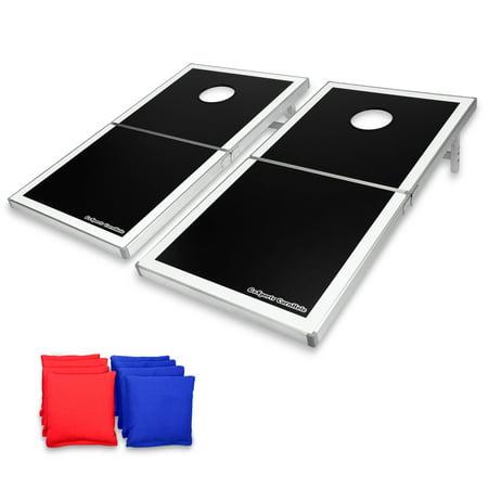 Gosports Foldable Boards Pro Regulation Size 4 X2 Bean Bag Toss Set Portable Superior Aluminum Frame Black Design W 8 Bags