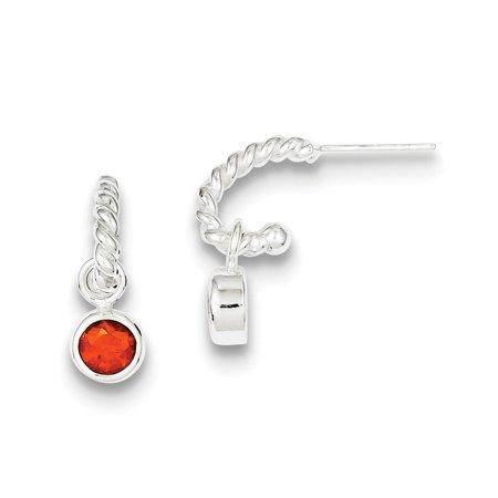 925 Sterling Silver Twist Hoops with round Bezel Red Cubic Zirconia Earrings (20mm x 6mm)
