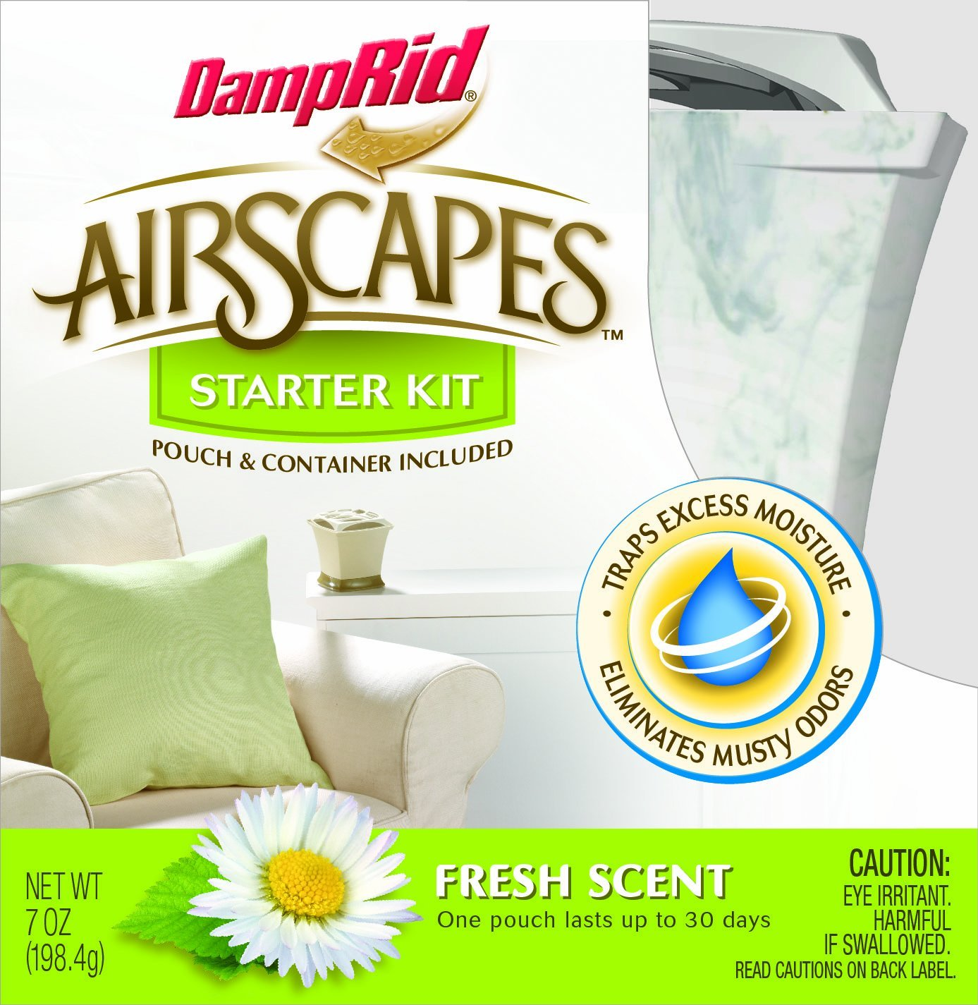 AS01WMFS Airscapes Dehumidifier Starter Kit, Fresh Scent, Traps excess moisture to eliminate musty odors for fresher cleaner air By DampRid
