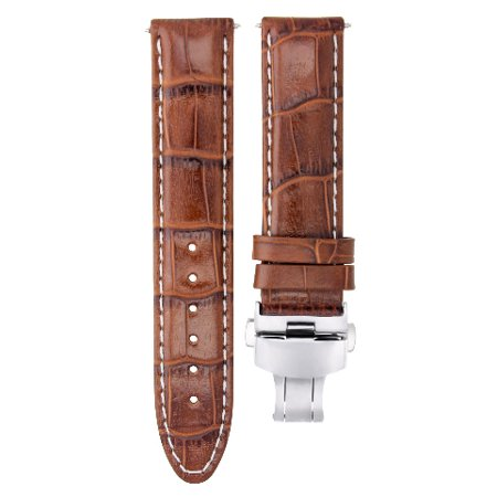 22MM LEATHER WATCH STRAP BAND CLASP FOR CITIZEN ECO DRIVE BL5250-02L L/BROWN WS Eco Drive Leather Strap