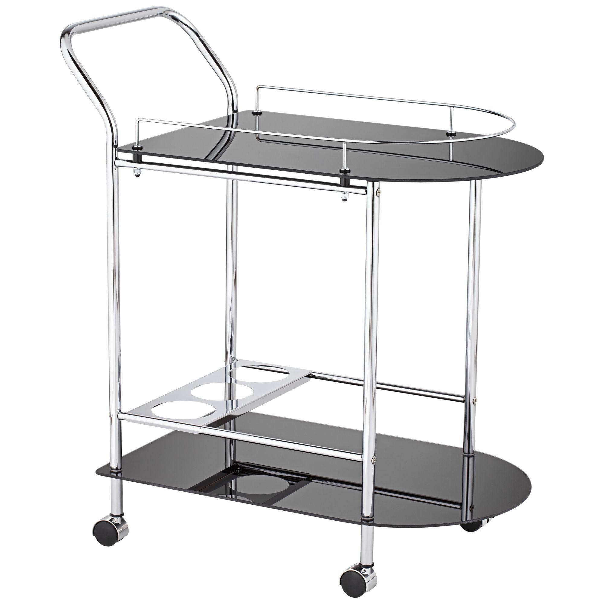 "Studio 55D Finn 28 1/2"" Wide Black Glass - Chrome Rolling Serving Cart"
