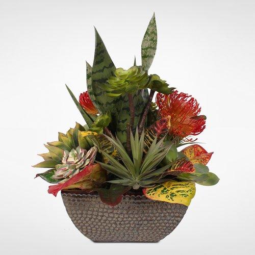 Bloomsbury Market Decorative Artificial Desktop Succulent Plant in Ceramic Planter