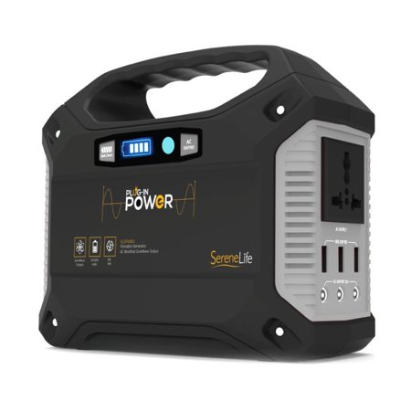 SereneLife SLSPGN20 - Portable Power Generator - Battery Pack Power Supply, Solar Panel Compatible (42,000mAh Capacity)