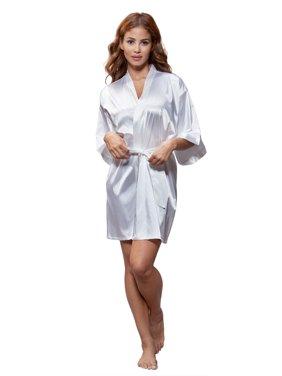 Product Image Turquaz Women s Pure Color Satin Short Kimono Bridesmaids  Lingerie Robes b628ae7cf