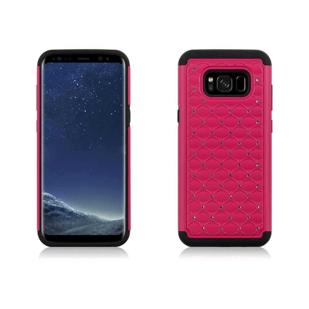 MUNDAZE Hot Pink Diamond Double Layered Case For Samsung Galaxy S8 Phone