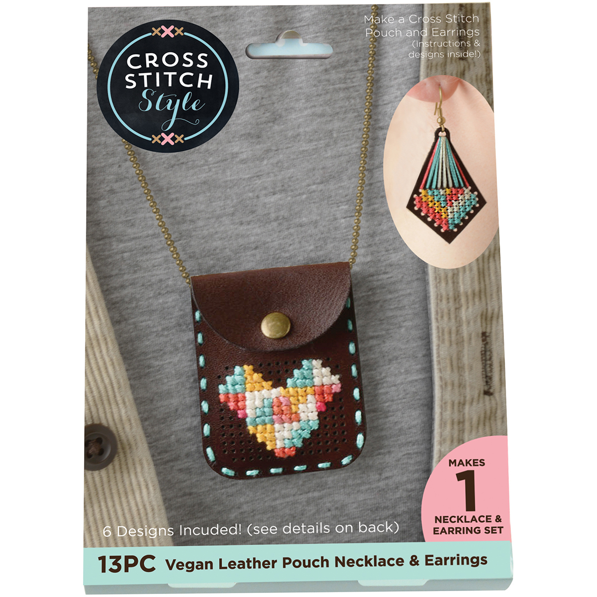 Faux Leather Pouch with Chain Punched For Cross Stitch Kit