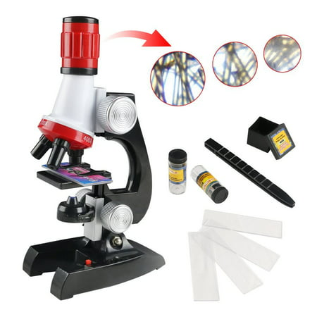 Smartasin Microscope Beginner Microscope Kit Science Kits for Kids -LED 100X, 400x, and 1200x Magnification, Great Gifts Educational Toys for Kids - Kids Microscope