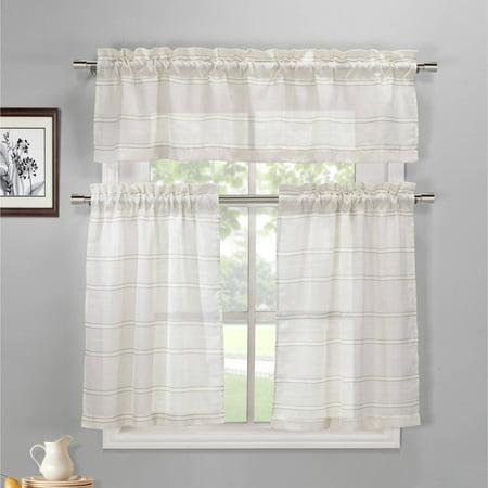 Maui Narrow Stripe Faux Linen Kitchen Curtain