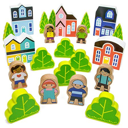Imagination Blocktown Wooden People & Houses Playset | Role-play Motor Skills Toy