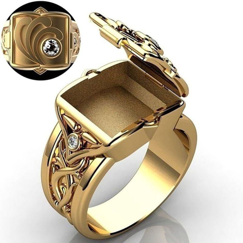 Men Women Punk Style Ring Secret Compartment Coffin Ring Hot Hip Hop C6J5