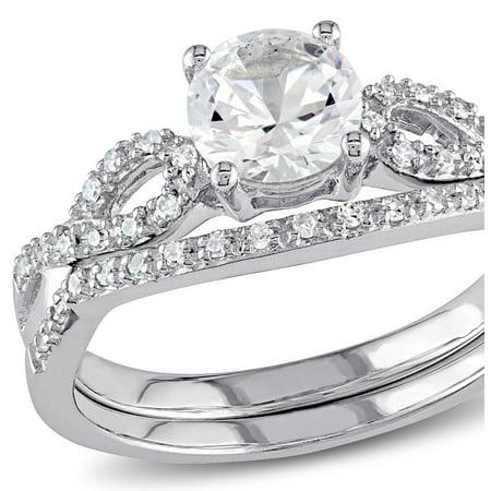 Created White Sapphire 1.0 Carat (ctw) with Diamond 1/7 Carat (ctw), Engagement Ring and Bridal Wedding Set 10K White