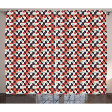 Geometric Curtains 2 Panels Set, Retro Cubes Flat Artsy Boxes in Different Color Corners Squares Abstract Design, Window Drapes for Living Room Bedroom, 108W X 63L Inches, Multicolor, by Ambesonne