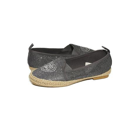 bebe Girls Big Kid Beachy Espadrille Slip-On Loafer Flat Glitter Mesh Shoe Size 13 Pewter Pewter Kids Shoes