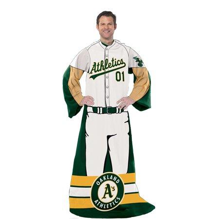 Oakland Athletics MLB Adult Uniform Comfy Throw Blanket w/ Sleeves