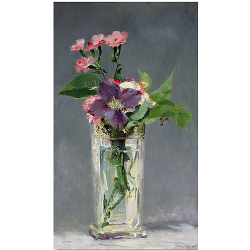 """Trademark Fine Art """"Pinks and Clemantis in a Vase 1882"""" Canvas Art by Edouard Manet"""