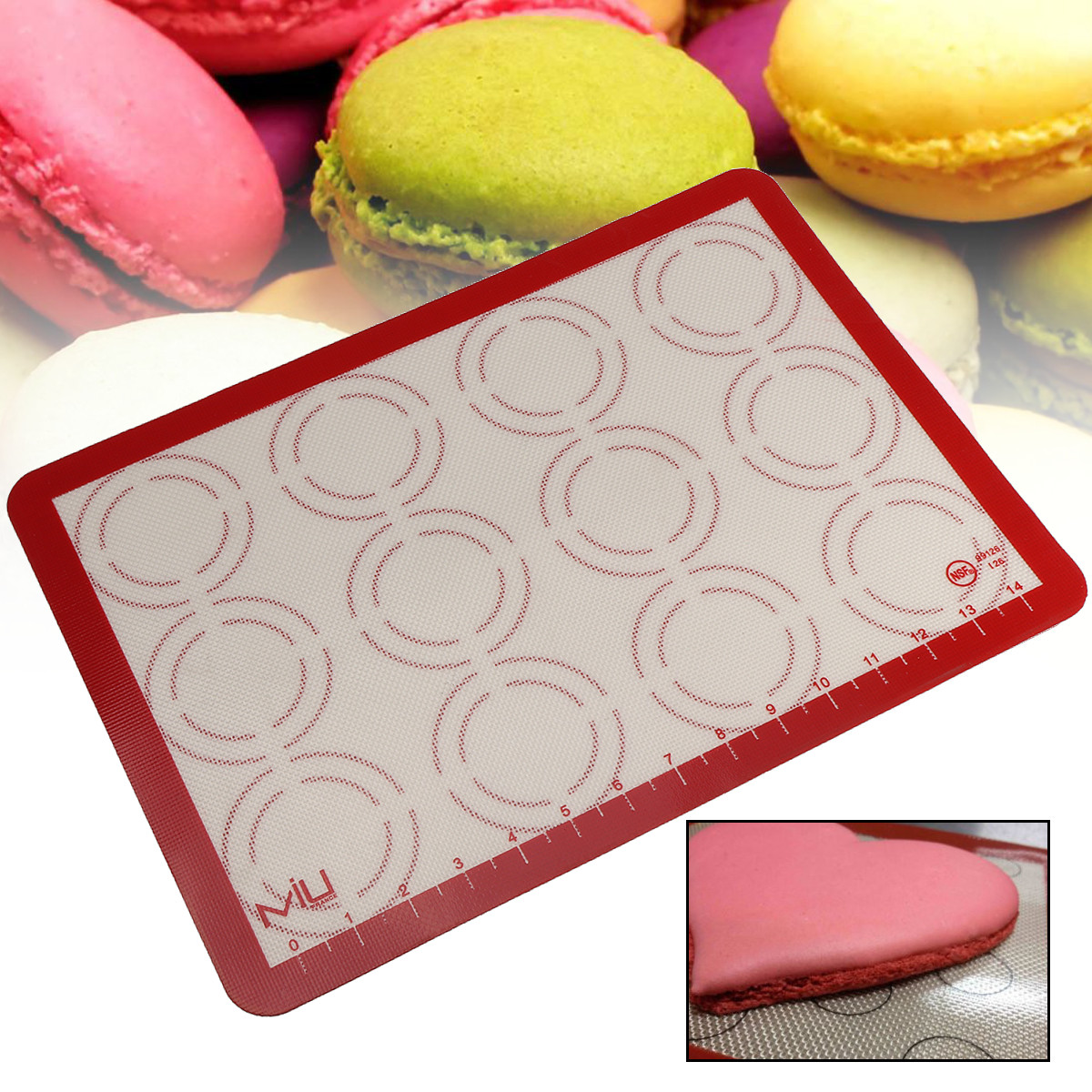 Baking Mat,Meigar Nonstick Silicone Mat Baking Oven Pastry Liner Macaron Cake Sheet Kitchen Reusable Baking Sheet for Your Jelly Roll Pan