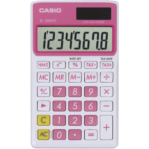 Casio Sl300VCPKSIH Solar Wallet Calculator with 8-Digit Display, Pink