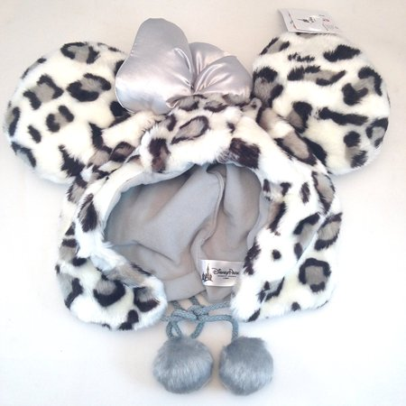 Disney Parks Minnie Mouse Cheetah Print Faux Fur Hat with Ears By