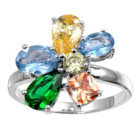Teardrop Multicolor Simulated CZ Colorful Flower Ring ( Sizes 5 6 7 8 9 ) .925 Sterling Silver Band Rings by Sac Silver (Size 9)