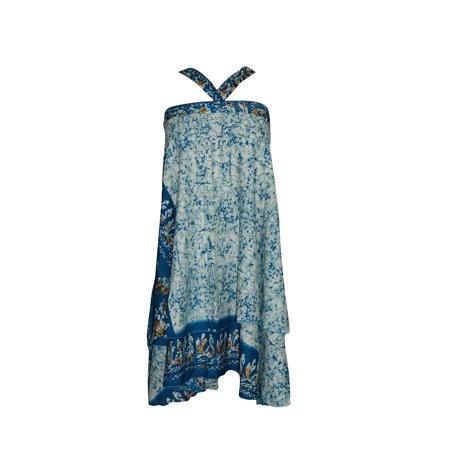 Mogul Womens Wrap Skirt Blue Printed Two Layer Reversible Long Silk Sari Sarong Dress
