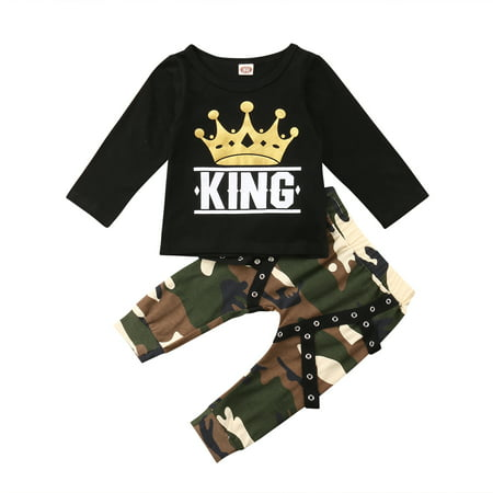 6327dbf6 CHRONSTYLE - Toddler Baby Boy Clothes King Long Sleeve Black T-Shirt +Camo  Pants Outfits Tops Set - Walmart.com
