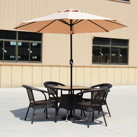 Baner Garden 9' Offset Patio Adjustable Crank Lift and Tilt Umbrella Set Outdoor Parasol Cantilever with Heavy Duty Stand, Light Brown (CA-1102-AB)