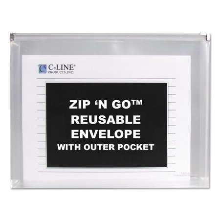 - Zip n Go Reusable Envelope w/Outer Pocket, 13 x 10, Clear, 3/Pack