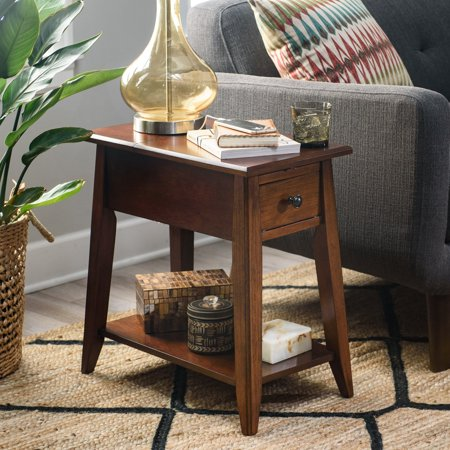 Nuts Poker Table - Finley Home Davis Chairside Table with Power Outlet - Walnut