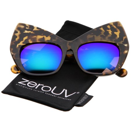 zeroUV - Chunky Frame Colored Mirror Square Lens Oversized Cat Eye Sunglasses - 54mm