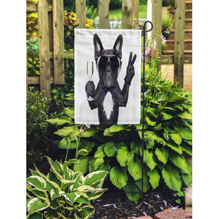 POGLIP Birthday French Bulldog Champagne Glass and Victory Peace Fingers Happy Funny Garden Flag Decorative Flag House Banner 12x18 inch - image 2 de 2