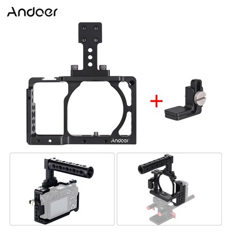 Andoer Protective Aluminum Alloy Video Camera Cage + Top Handle Kit Film Making System with Cable Clamp for Sony A6000 A6300 A6500 NEX7 ILDC to Mount Microphone Monitor Tripod Lighting