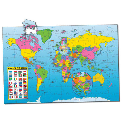 The Learning Journey Puzzle Doubles with Poster Series - Map of the World