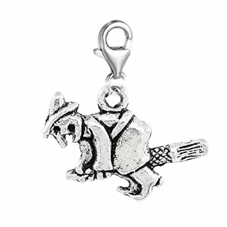 Halloween Witch on Broom Clip on Pendant for European Charm Jewelry w/ Lobster - Witches Broom For Halloween