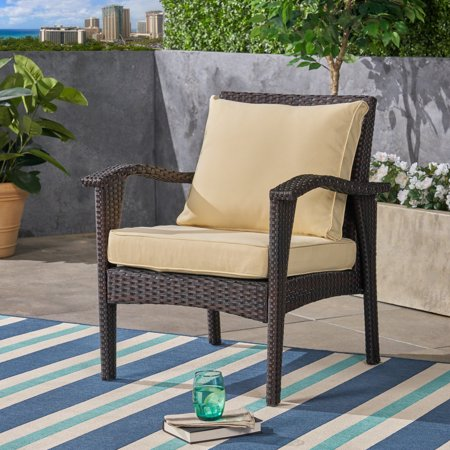 Pena Outdoor Patio Cushions for Club Chairs, Weather-Resistant, Deep Seating, Cream with Piping