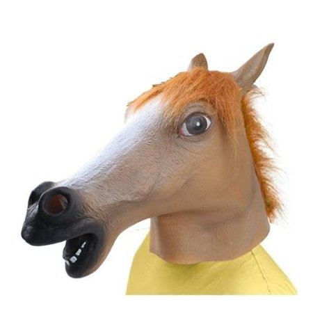 AGPtek Brown Halloween Party Decorations Creepy Horse head latex Rubber Mask Perfect for Harlem Shake& Gangnam Style (Non Latex Halloween Masks)
