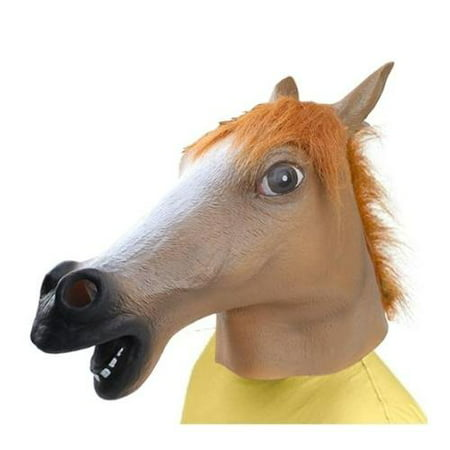 Creepy Mask (AGPtek Brown Halloween Party Decorations Creepy Horse head latex Rubber Mask Perfect for Harlem Shake& Gangnam)