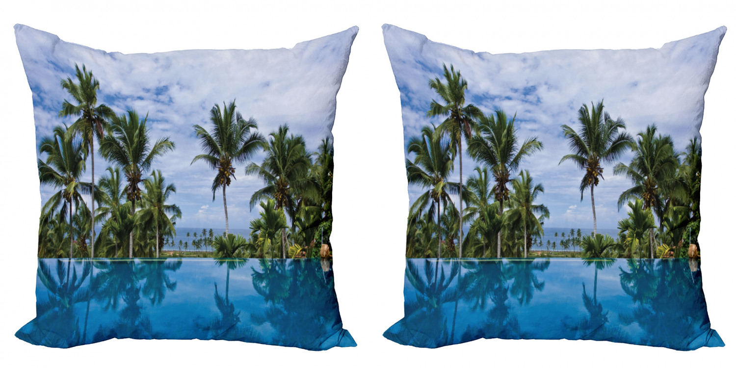 Landscape Throw Pillow Cushion Cover Pack Of 2 Infinity Pool With Palms Reflections And Crystal Water Tropic Resort Photo Zippered Double Side Digital Print 4 Sizes Blue Green White By Ambesonne Walmart Com