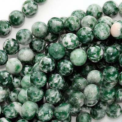 Green & White Spot Agate 8mm Round Beads /15.5 Inch Strand
